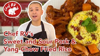 SWEET AND SOUR PORK WITH YANG CHOW FRIED RICE