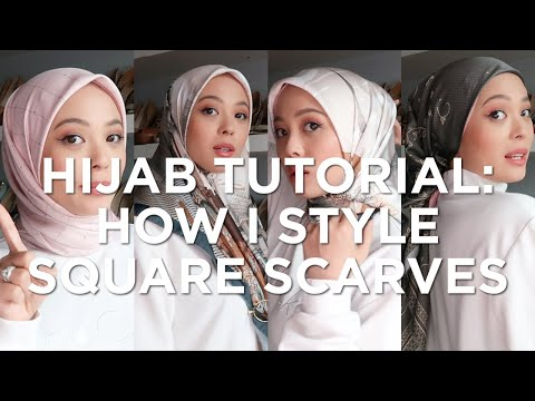 Hijab Tutorial: How I Style Square Scarves | Vivy Yusof - YouTube