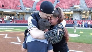 watch air force dad surprise his kids as catcher during baseball game