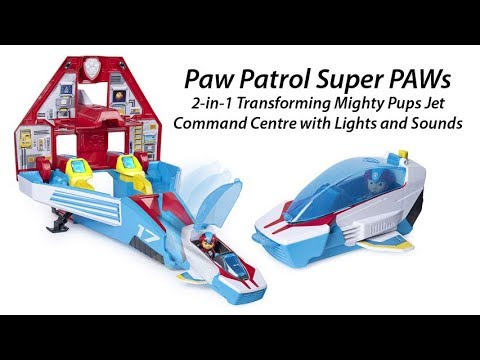 New Paw Patrol Super Paws 2in1 Transforming Mighty Pups Jet Command Center w//...