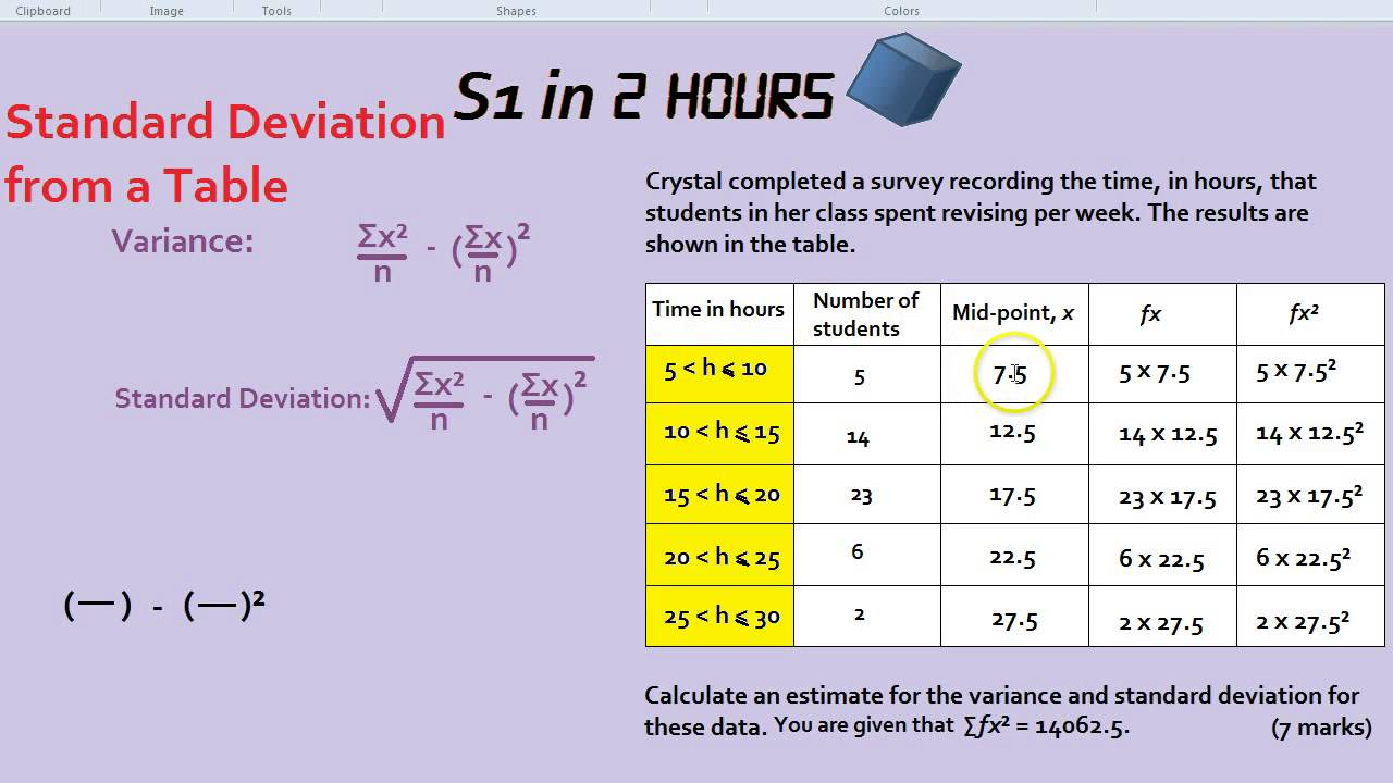 S1 in 2 hours standard deviation from a table youtube ccuart Images