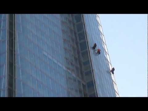Very Brave Window Cleaners' working on UK's tallest building The Shard, London; 7th & 8th Sept 2012