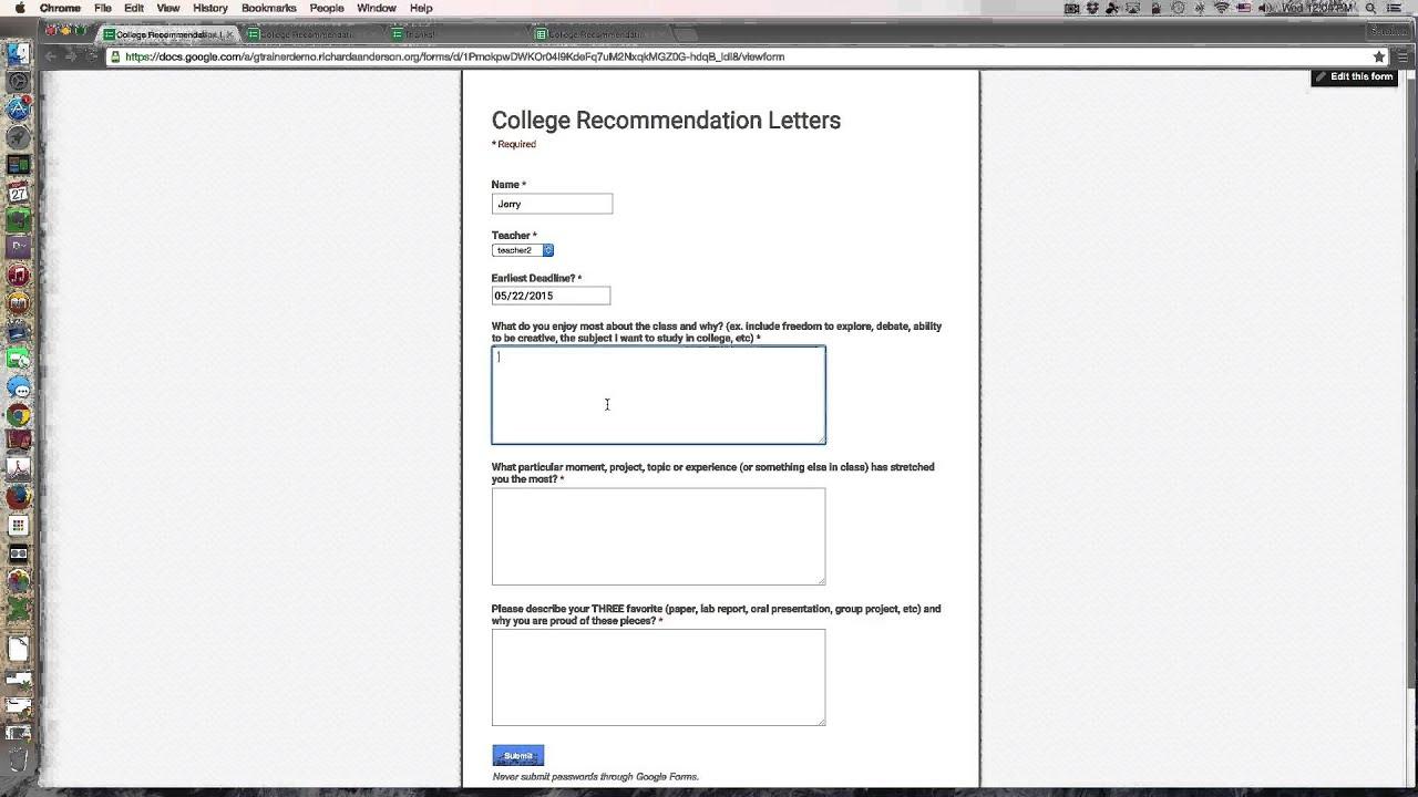 College recommendation letters prep via google forms youtube college recommendation letters prep via google forms spiritdancerdesigns Gallery