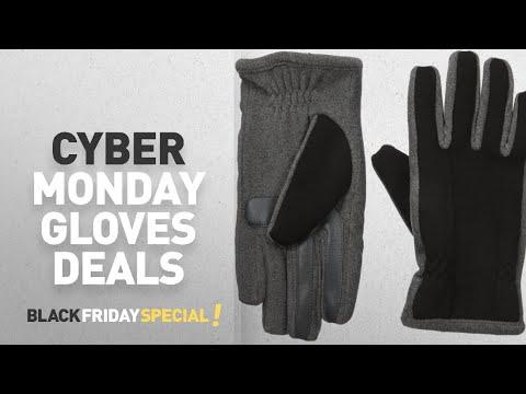 Top Cyber Monday Men's Gloves Deals: Isotoner Men's Tech Stretch smarTouch Fleece Palm Gloves ,