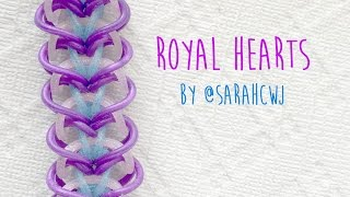 Repeat youtube video Rainbow Loom Bands Royal Hearts Bracelet by @SarahCJW