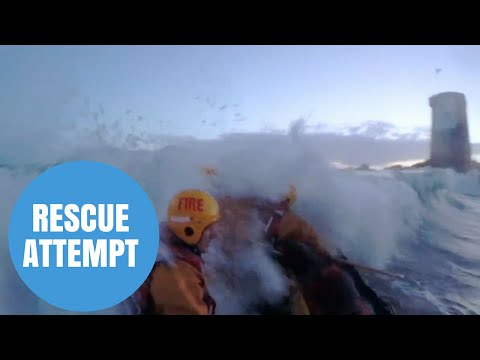 Dramatic footage of rescue attempt of a woman who was swept away at sea