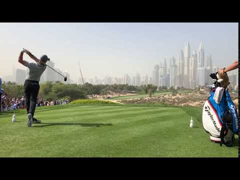 Rory Mcilroy swing on the 8th tee at Emirates Golf Club