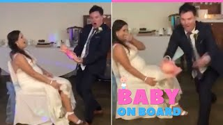 Groom's Hilarious Surprise For Pregnant Wife During Garter Toss