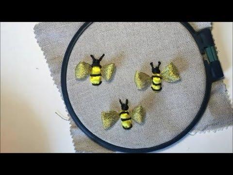 Вышивка лентами пчела