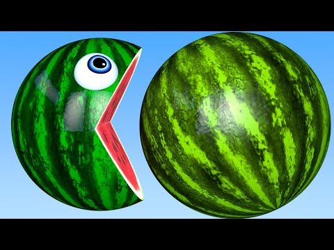 Learn Colors with PACMAN and Farm Watermelon LadyBug Fruit Street Vehicle for Kid Children