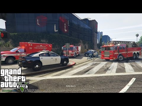 GTA 5 | LAFD Responds To A Fire At The Life Invader Building |Searching & Rescuing Trapped Occupants