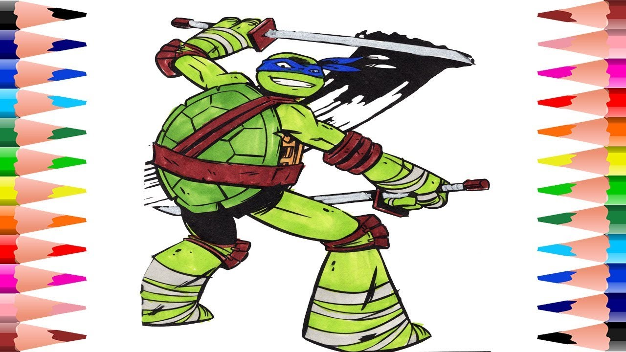 Painting Leonardo Mutant Ninja Turtles Coloring Pages - Coloring For ...