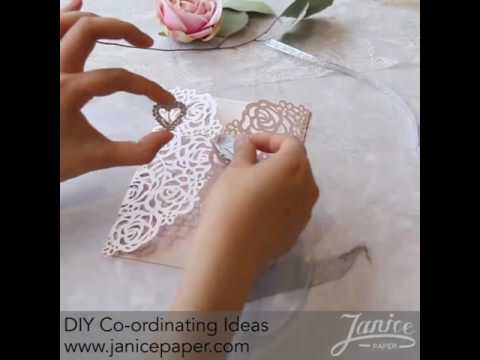 DIY Rose Design Laser Cut Wedding Invitations with Glitter Ribbons and Buckles