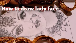 How to draw lądy face with pencils /shading skin tone/ jewellery drawing/beginners step by step