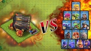 ALL TROOPS VS GEARED UP CANON !! CLASH OF CLANS !! TROLL TO DEATH !!