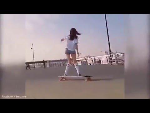 Phát hiện hot girl trượt ván