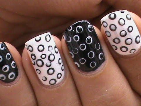 Black and White Nail Art Designs *Cute & Simple* - Black And White Nail Art Designs *Cute & Simple* - YouTube