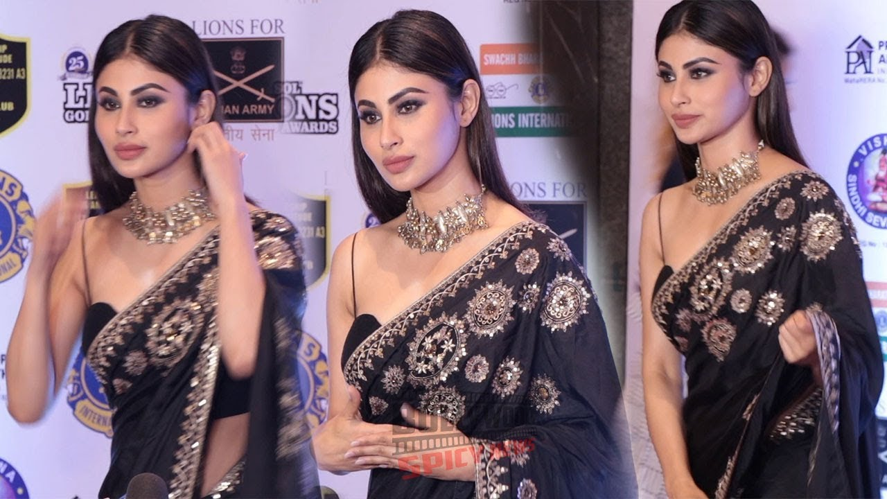 Mouni Roy In Black Saree at 25th Lions Gold Awards 2019 - YouTube