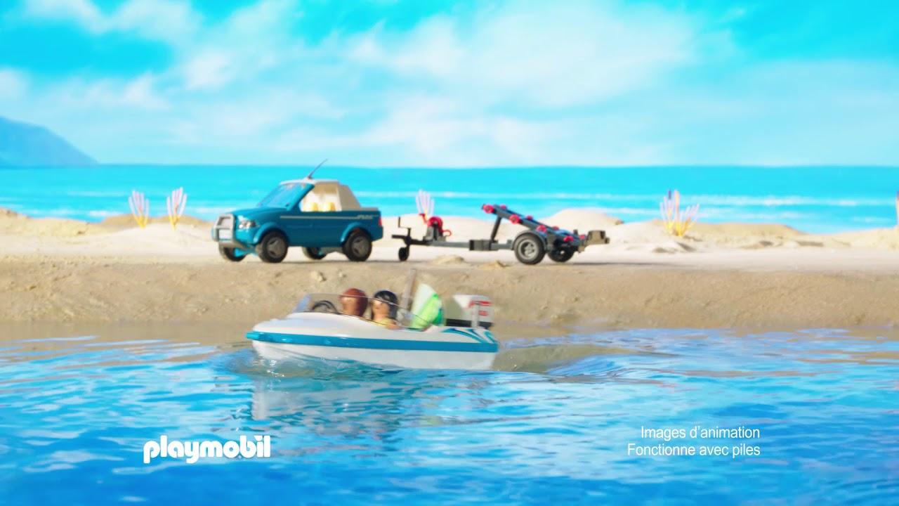 playmobil la voiture avec bateau et moteur submersible francais