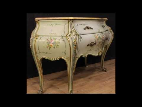 Venetian lacquered and painted dresser with marble top. Antiques and decorative shop online