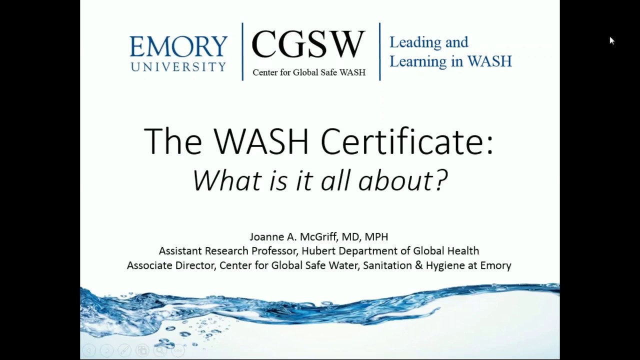 Certificate In Water Sanitation And Hygiene Youtube