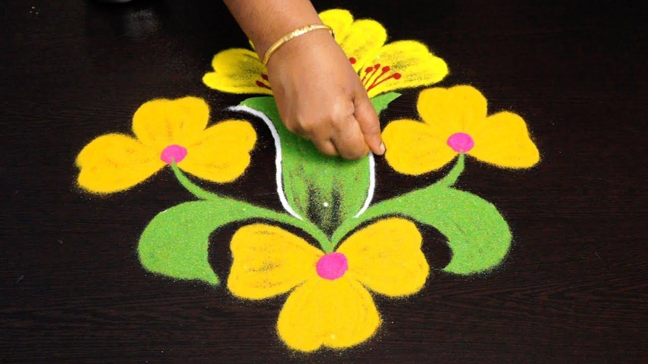 creative flower rangoli designs with 7 to 1 dots || simple kolam designs || geethala muggulu #1