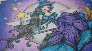Coloring a witch in the nightsky