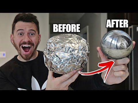 GIANT MIRROR POLISHED JAPANESE ALUMINUM FOIL BALL CHALLENGE!! *How To Make Japanese Foil Ball*