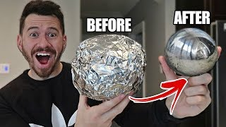 connectYoutube - GIANT MIRROR POLISHED JAPANESE ALUMINUM FOIL BALL CHALLENGE!! *How To Make Japanese Foil Ball*