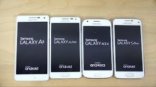 Samsung Galaxy A5 vs. Galaxy Alpha vs. Galaxy S5 Mini vs. Galaxy Ace 4 - Which Is Faster? (4K)