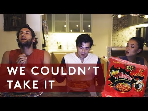2X NUCLEAR SPICY KOREAN FIRE NOODLE CHALLENGE ft Solenn Heussaff and Nico Bolzico