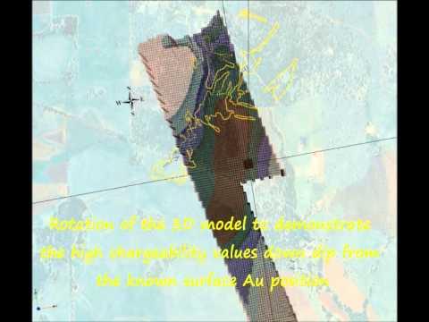 IP Survey 3D Model at Sorpresa Gold Project May 2012 Rimfire Pacific Mining  Fifield NSW
