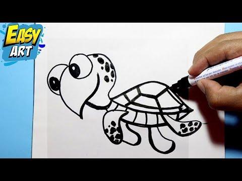 como dibujar una tortuga - how to draw turtle - (Buscando a nemo ...