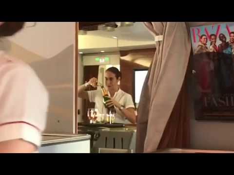 Emirates Airlines employee filmed pouring wine back into bottle