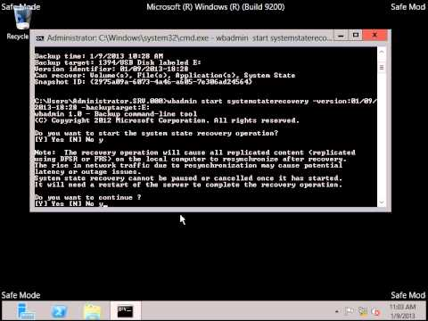 Restore The System State Backup By Command In Windows Server 2012 Part 2