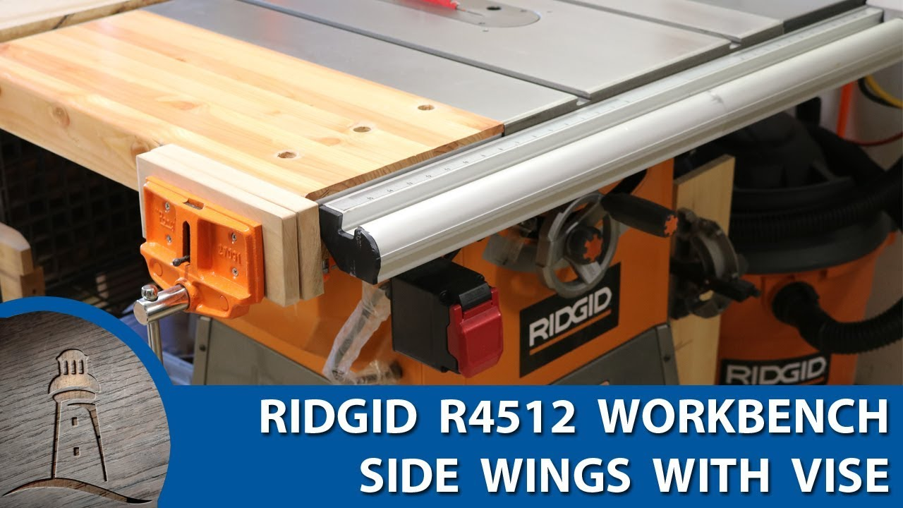 Ridgid r4512 table saw workbench with vise custom addition youtube ridgid r4512 table saw workbench with vise custom addition greentooth Images