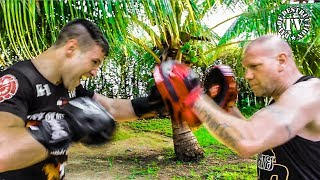 Boxing Pad Work Drills Under Palm Trees With Coach Ralf Stege
