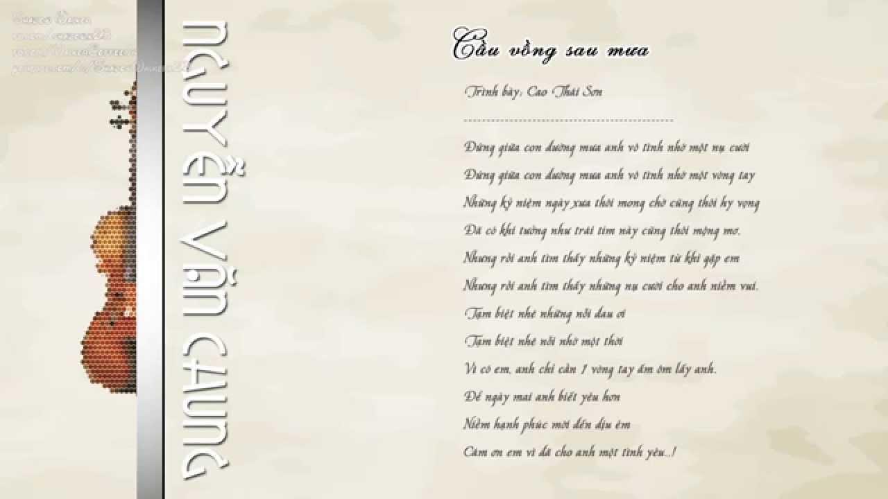 [Nguyễn Văn Chung] – Cầu Vồng Sau Mưa – Cao Thái Sơn