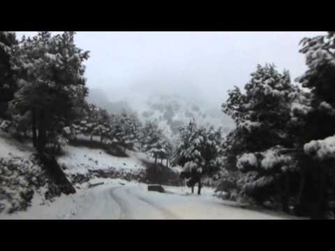 snowy drive in High Atlas mountains