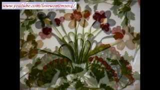 Украшения стола из овощей онлайн. Как красиво нарезать огурец онлайн.