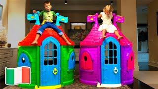 Cinque Bambini costruiscono casette per bambini