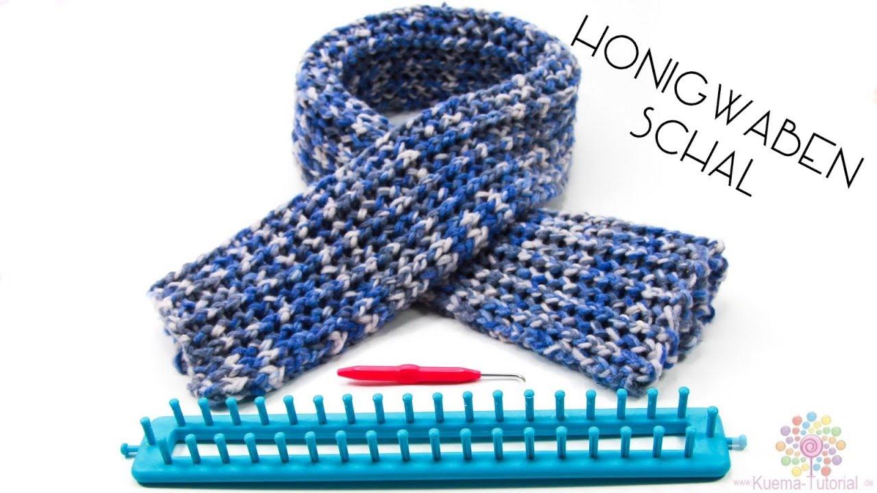 knitting loom honigwaben schal einfach warm honeycomb muster - Strickrahmen Muster