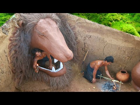 Dig To Build Giant Lion Underground Mud House - Building Skill