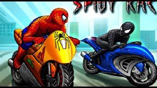 Человек -  Паук на мотоцикле.  Гонки.  Машинки для детей
