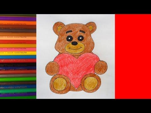 How to draw Bear with Heart, Как нарисовать медведя с сердцем, Рисунки для детей