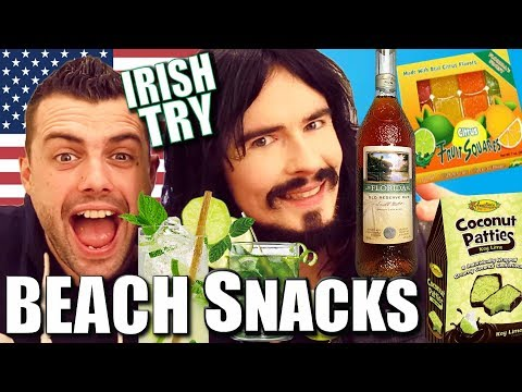 Irish People Taste Test American Beach Snacks!! - (( Mojito Party ))