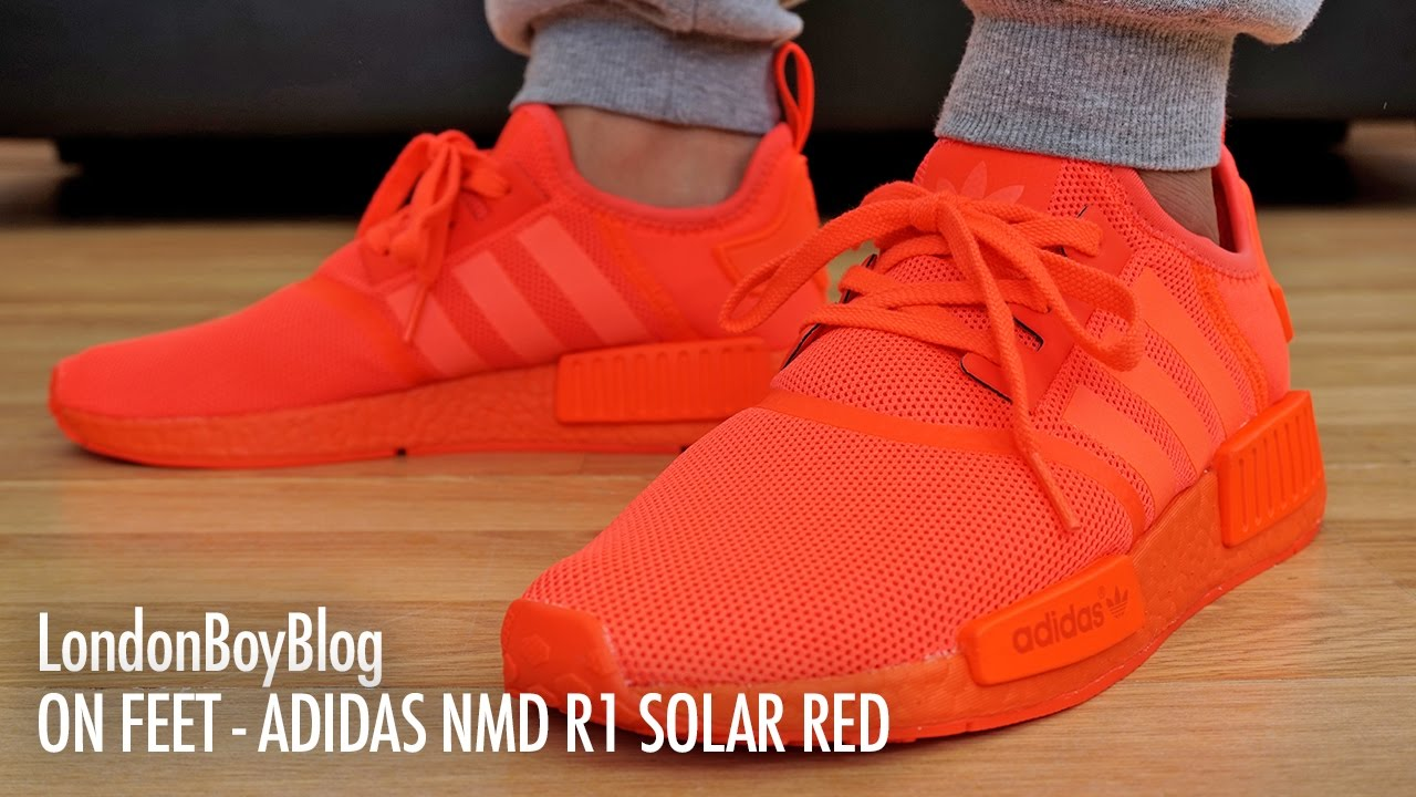 On Feet Adidas Nmd R1 Solar Red Youtube