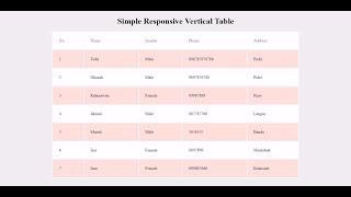 Simple Responsive Vertical Table