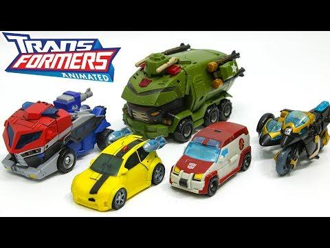 Transformers Animated Autobots Optimus Prime Bumblebee Ratchet Bulkhead Samurai Prowl Car Robot Toys