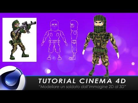"""TUTORIAL CINEMA 4D """"Modellare un soldato dall'immagine 2D al 3D"""""""